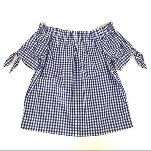 J CREW Off-The-Shoulder Gingham Short Sleeve Top